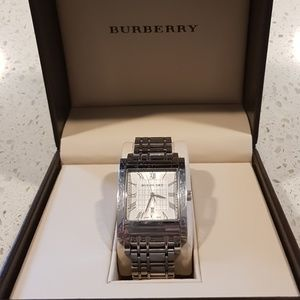 Burberry men's square face watch check
